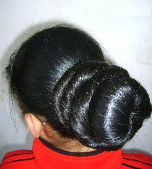 Best 22 Bun Made Of Long Hair Images On Pinterest