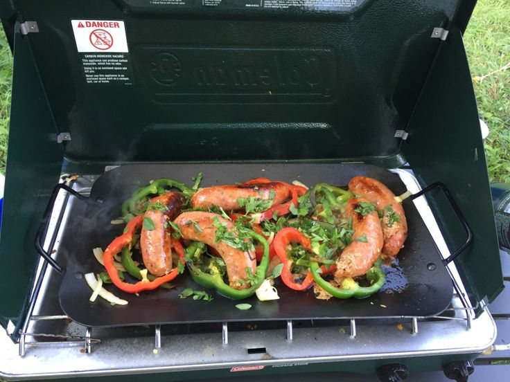 Here are a couple of go-to recipes that work well on a Coleman two-burner propane stove with a griddle.