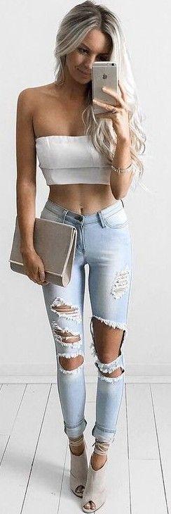 #summer #feminine #outfits | White Crop + Shredded Denim