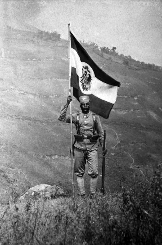 In 1914 there were three Schutztruppe commands, one in each of the German colonial regions in East, West, and Southwest Africa. Schutztruppe formations were organizationally never a part of the army or navy. German military law and discipline applied to the Schutztruppe. Shown here, Schutztruppe Askari Flag Carrier, German East Africa, 1906