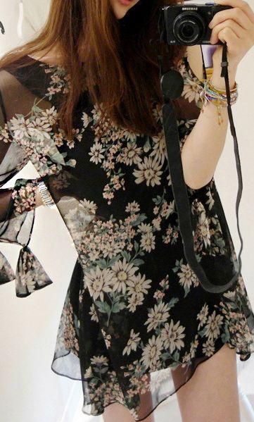 Elegant daisy print chiffon tunic 3591 Black nice
