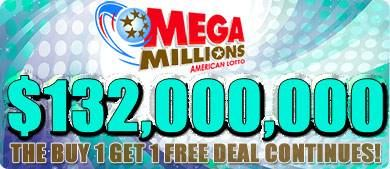BUY ONE GET ONE FREE - When you play for the $132,000,000 MegaMillions this week at #playlottoworld.