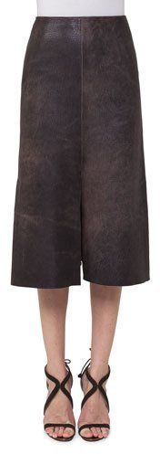 Akris Antique Leather A-Line Skirt, Sepia