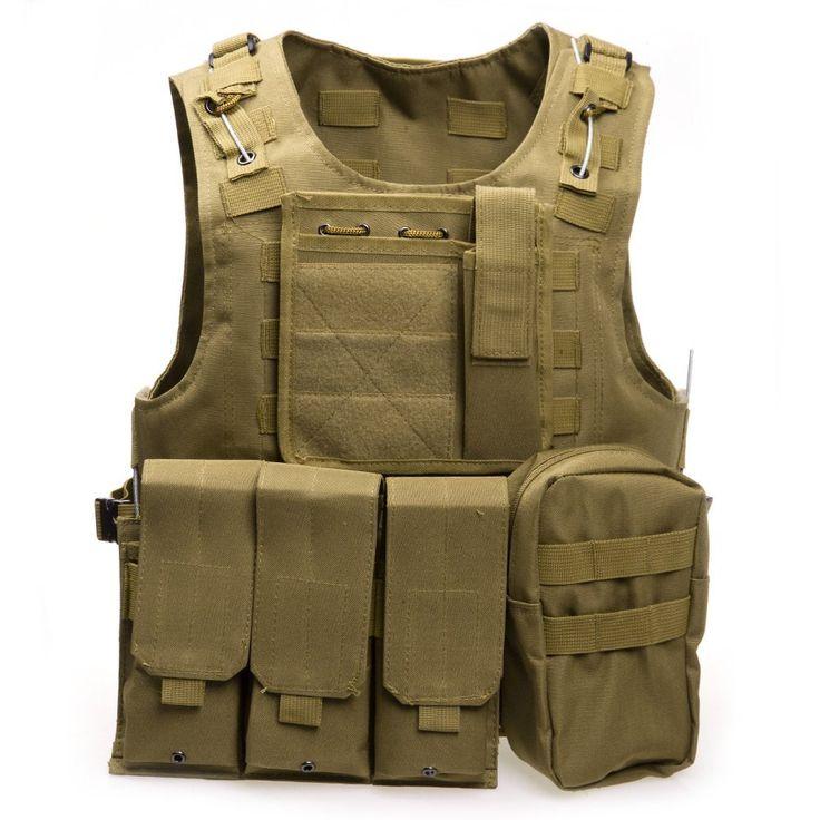 6 Colors Mens Tactical Vest Military 600D Oxford Swat Vest Field Battle Airsoft Molle Combat Assault Plate Carrier Hunting Vest