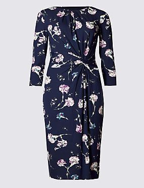 3/4 Sleeve Floral Shift Dress