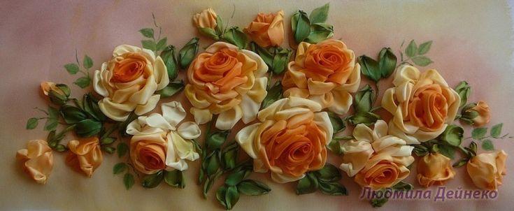 Gallery.ru / Композиция из желтых роз - Вышивка лентами, часть 2 - silkfantasy