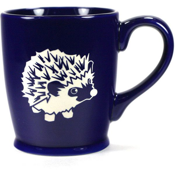 Hedgehog Mug Navy Blue microwave/dishwasher Safe Cute Coffee Cup ($25) ❤ liked on Polyvore featuring home, kitchen & dining, drinkware, black, drink & barware, home & living, mugs, wizard of oz cups, black mug and black coffee cups