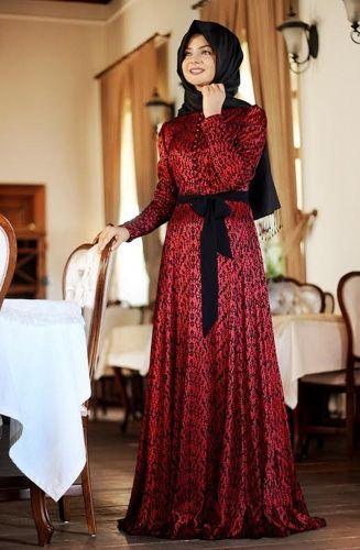 Pınar Şems - Laminasyon Elbise Kırmızı