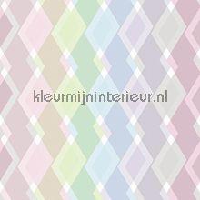 Mix ruiten kleurrijk pastel behang JW3746 Grafisch - Abstract Behang Expresse