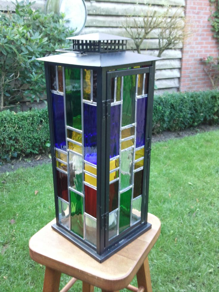 zelfgemaakte  glas in lood lantaarn