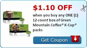 Print Out NEW Green Mountain Coffee Coupons for K-Cup Packs!