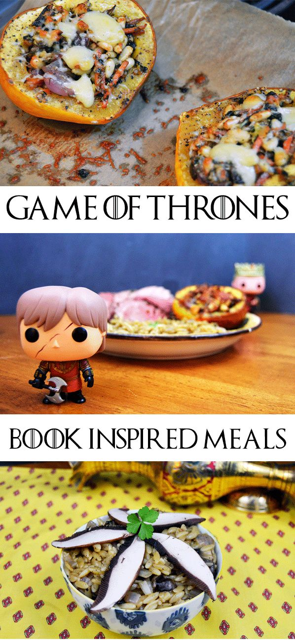 Game of Thrones Food - This book inspired meal comes from various Game of Thrones chapters, including Tyrion's Leg of Lamb, Pentoshi Mushrooms and Orzo Risotto, and House Bolton Stuffed Winter Squash.