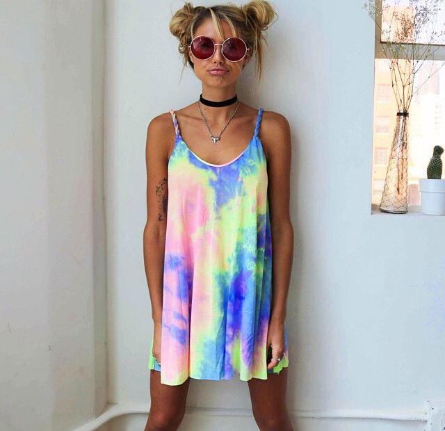 """283811162d44 Adorable Rainbow Print Tie Dye Summer Dress. Made Of polyester. Available  in sizes S-XL Size Bust Length Waist S 33.07"""" 30.31"""" 33.46"""" M 34.65"""" 30.7…"""