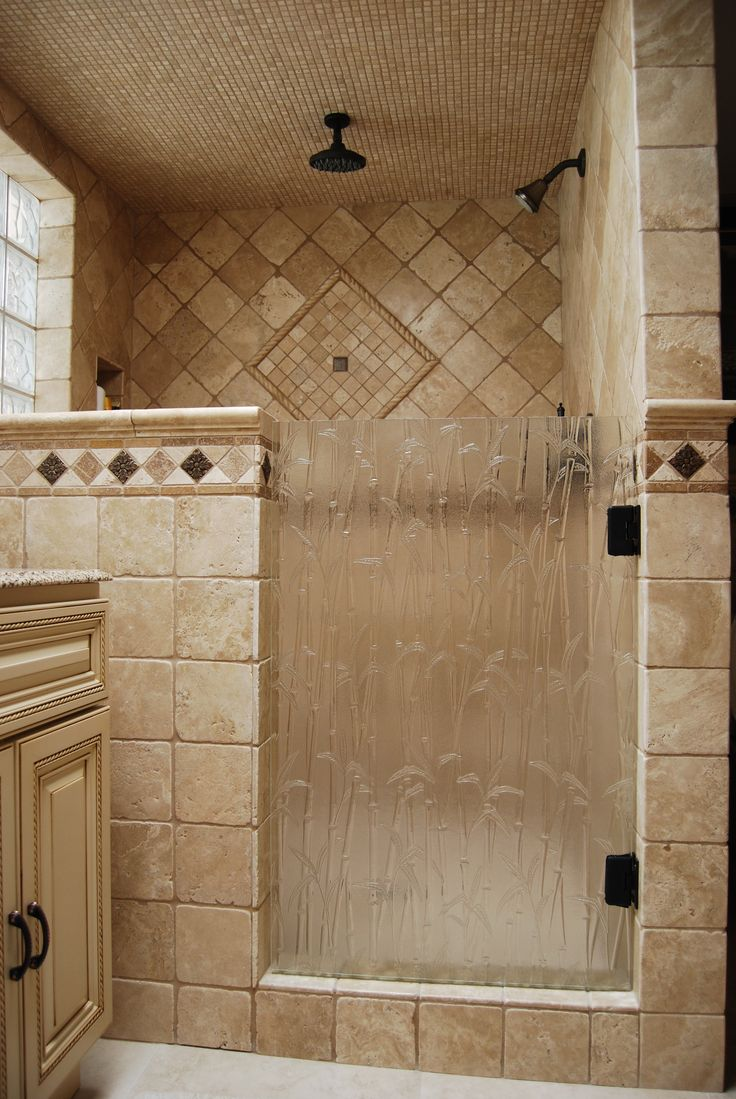 Shower Door Done With Bamboo Textured Glass Bathrooms
