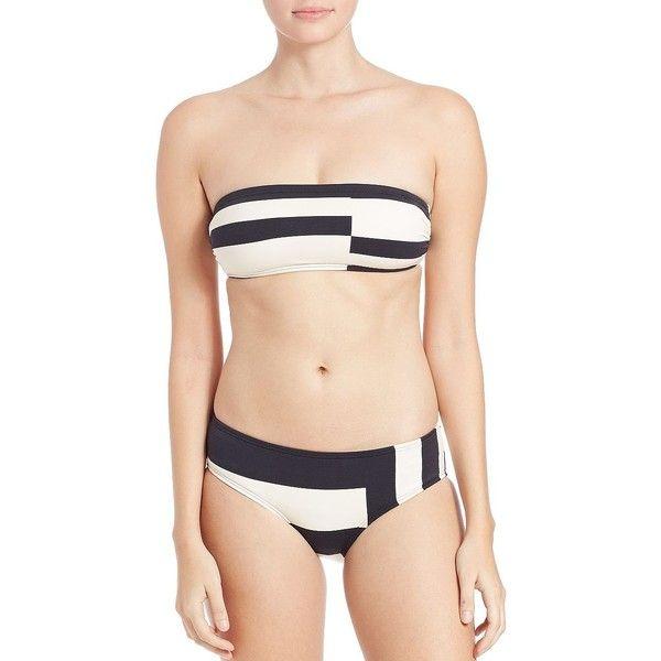 Kate Spade New York Colorblock Bandeau Bikini Top ($82) ❤ liked on Polyvore featuring swimwear, bikinis, bikini tops, black, print bikini, black bikini, bandeau bikini, kate spade swimwear and black bandeau bikini