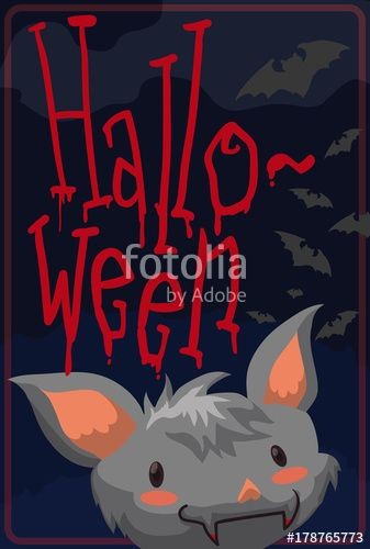 Cute Bat Face and Others Flying in Spooky Halloween Night
