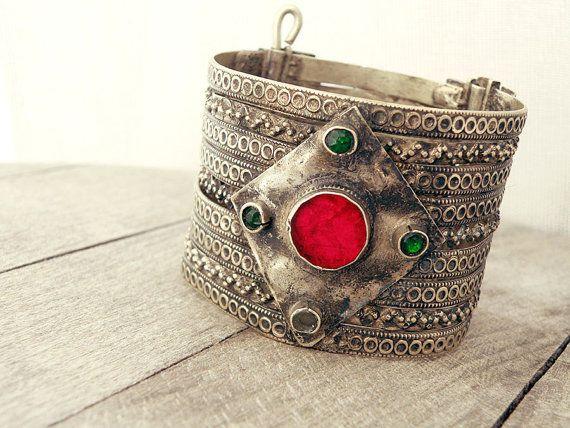 Afghan jewelry, Afghan bracelet, Afghan cuff, Bedouin bracelet, Berber jewelry, belly dance bracelet, tribal bracelet, hippie cuff bracelet
