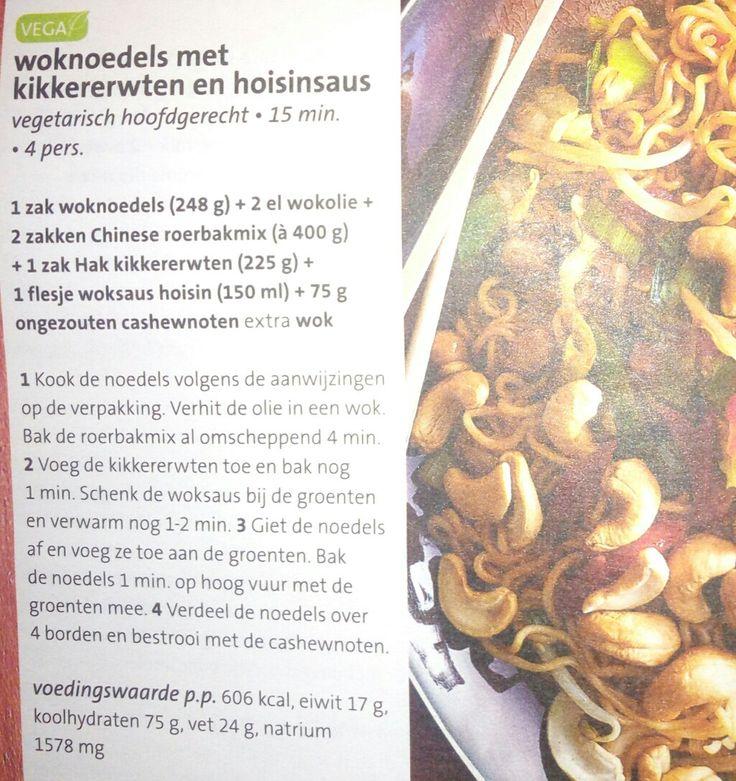 Woknoedels met kikkererwten en hoisinsaus