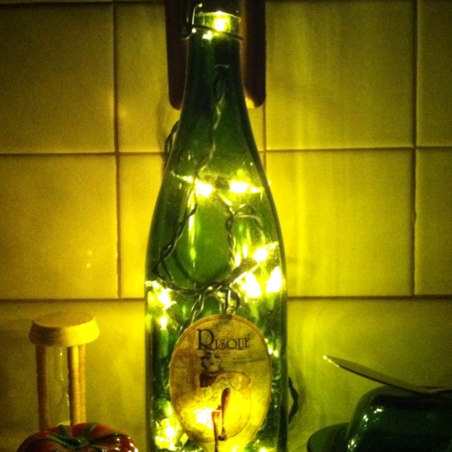 14 best wine lamps by angi images on pinterest wine for Wine bottle night light diy