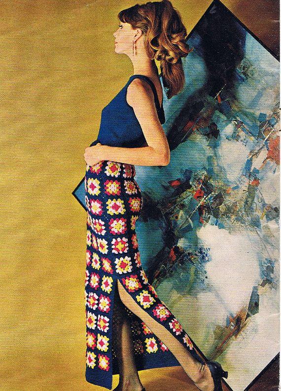 1970s Crochet patterns dresses suit tops por GrannysTreasure