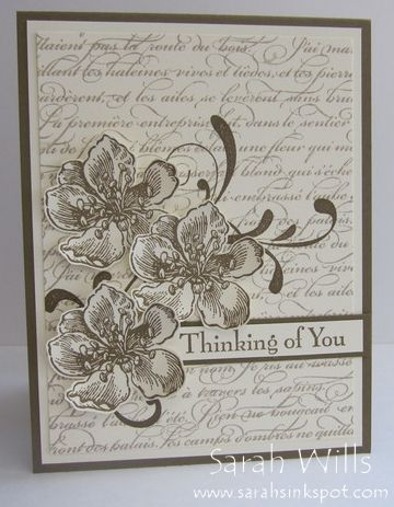 Monochromatic card. En Francais, could use Baroque Motifs, Fifth Ave Floral. Soft Suede, Crumb Cake and Very Vanilla