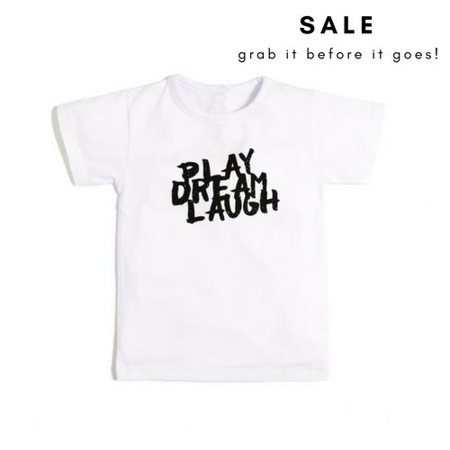Play Dream Laugh Tee, 100% Organic Clothing for Kids by Aster & Oak, buy at Thistle and Roo