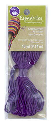 Dritz Espadrilles Yarn, 10 yd, Purple:   Dritz espadrilles yarn - Purple, 10 yds. When constructing your own Dritz espadrilles, 10 yards of 100percent cotton (1 package) is enough for one pair of shoes. Choose from 7 creative yarn colors to coordinate or contrast with your outer fashion fabrics and lining fabrics.