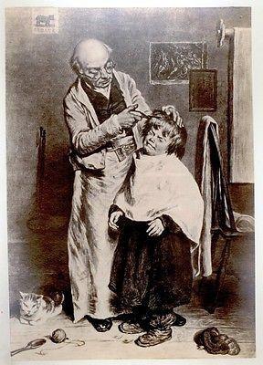 "Antique Albumen Print -c1870- ""VILLAGE BARBER"" by Thomas"