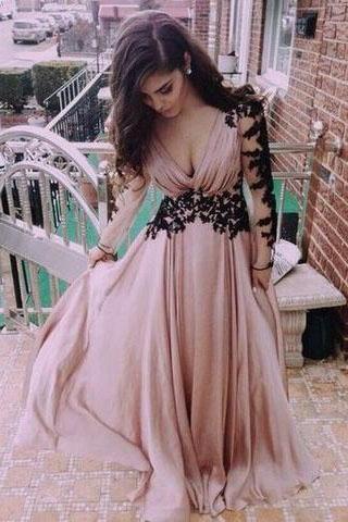 Deep V neck Prom Dress Fashion Long Sleeves Appliques Black And Pink Chiffon Prom Dress PH138