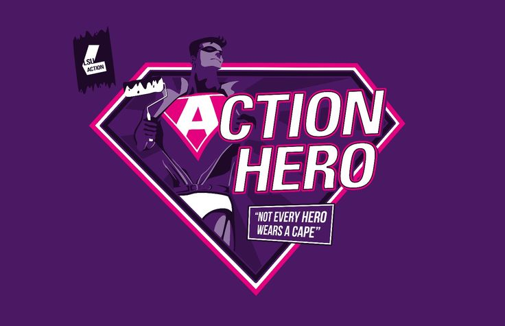 'Action Hero' t-shirt graphic by Emily Boyes - EMBO Design @ www.embodesign.co.uk - Feel free to contact for any design enquiries! #embodesign #embo #logo #loughborough #university #project #lsu #union #branding #brand #shirt #comic #book #hero #graphic #branding #student #society #action #hero