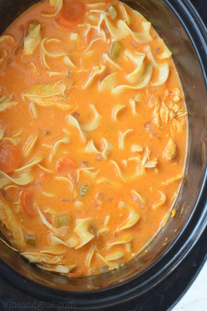 Crock Pot Cream Buffalo Chicken Noodle Soup | www.wineandglue.com