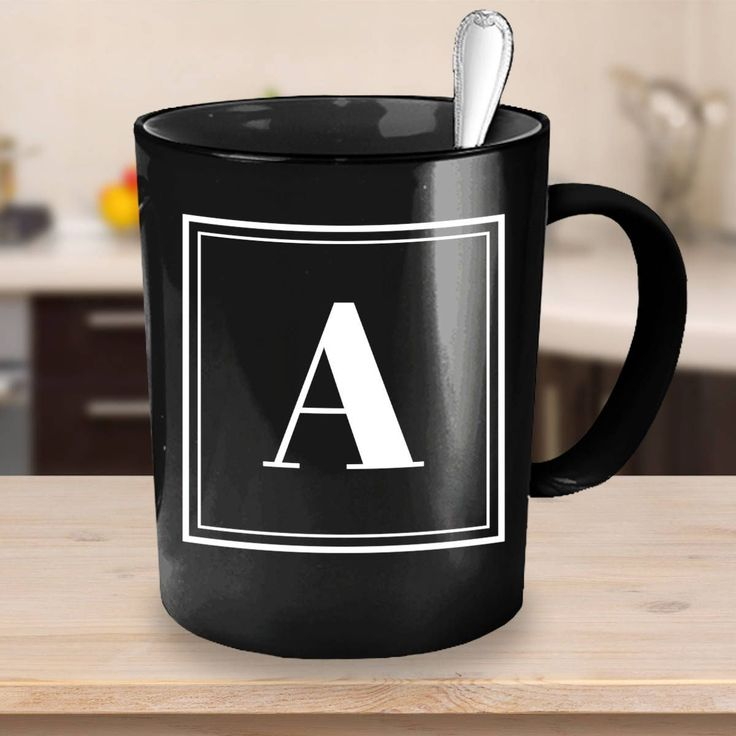 Super simple elegant gift for him: Personalised Initial Black Coffee Mug with Double Square Design  http://etsy.me/2CPIabn #etsy #etsyseller #valentines