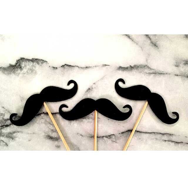 Black moustache party cupcake and straw toppers and confetti by DoneInYourStyle on Etsy