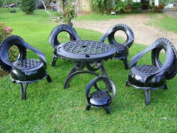 Mesa De Jardin De Neumaticos Reciclados