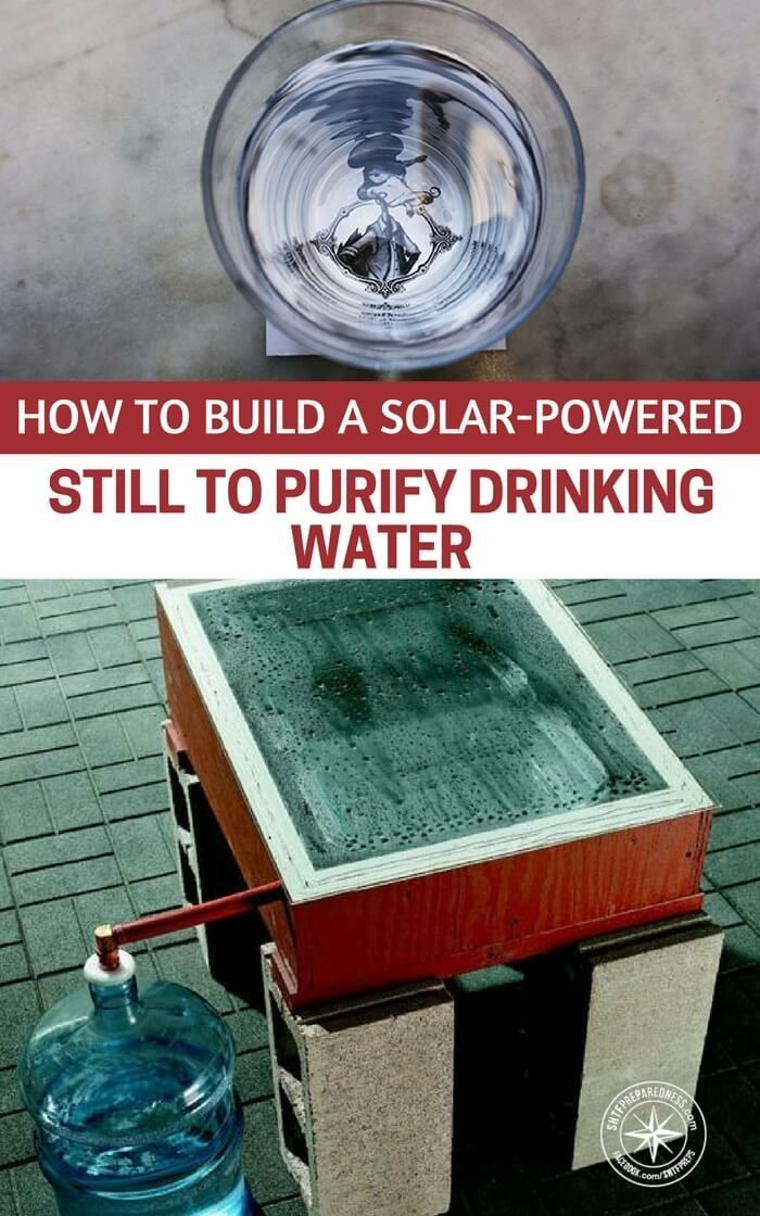 How To Build A Solar-Powered Still To Purify Drinking Water — This is a great project to purify any water to get drinking water. It uses no electricity or man made heat, just the power of the sun. These stills even work in winter. | Posted by: SurvivalofthePrepped.com