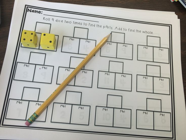 Roll to find the parts, add to find the whole! Great part part whole practice!