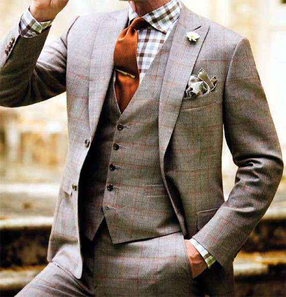 grey wool flannel window pane suit, medium tattersall, orange tie   Huy no...mejor este!!!! @Carla Gentry Verónica