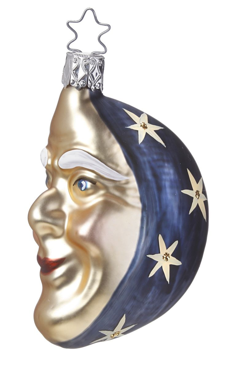 German glass ornaments - Ol Blue Moon Inge Glas Celestial Hand Blown Hand Painted Glass
