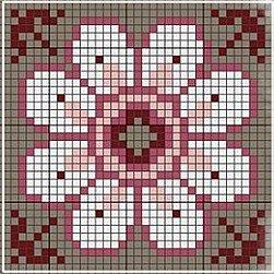Flower biscornu chart