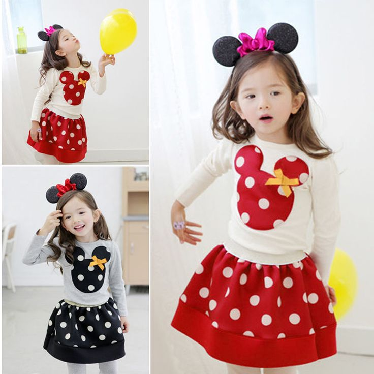 I love these outfits, so cute! Kids Baby Girls Mninie Mickey Mouse Bowknot Shirt Tops Polka Dot Dress Outfit #GL #Everyday