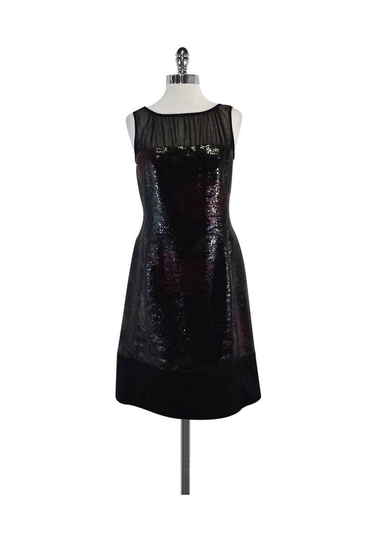 Kay Unger- Black Red & Green Floral Sequin Dress Sz 6 | Current Boutique
