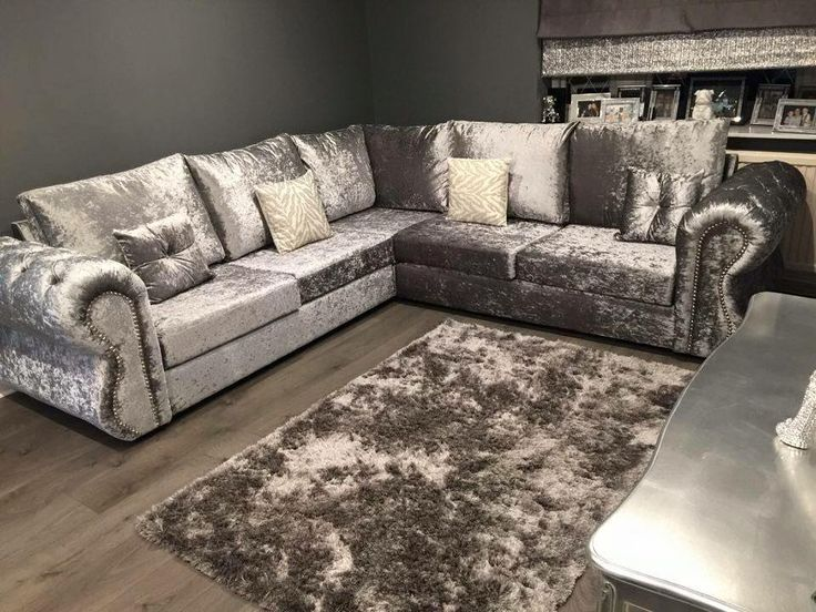 CORNER   £699 CHESTERFIELD CRUSHED VELVET 4 SEAT CORNER SET IN SILVER  TRADITIONAL BUT MODERN. Silver Living RoomSilver ... Part 97