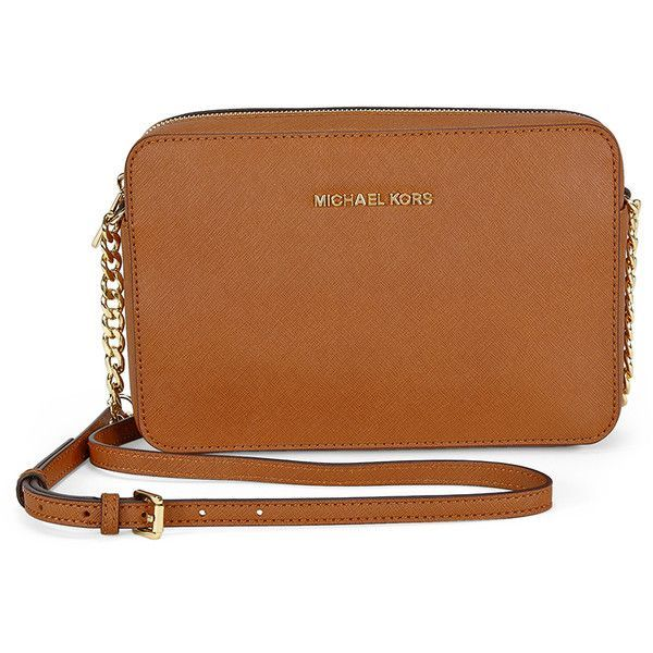 An authentic Michael Kors crossbody bag styled in saffiano leather and gold-tone hardware. This Michael Kors crossbody features a zip top pocket with a fully l…