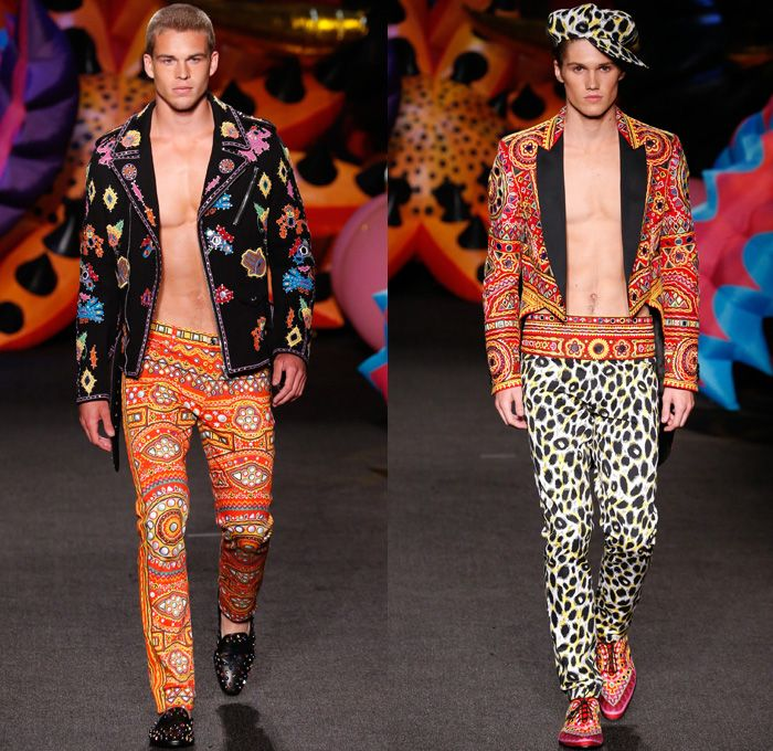 Moschino 2017 Spring Summer Mens Runway Catwalk Looks - Los Angeles California - 1960s Sixties Flowers Floral Pattern Motif Denim Jeans Sandals Bomber Tuxedo Moto Biker Leather Jacket Cobra Suit Satin Silk Blazer Embroidery Bedazzled Tiger Tote Bag Hat Slip-Ons Tuxedo Speedo Hoodie Crochet Weave Knitwear Backpack Psychedelic