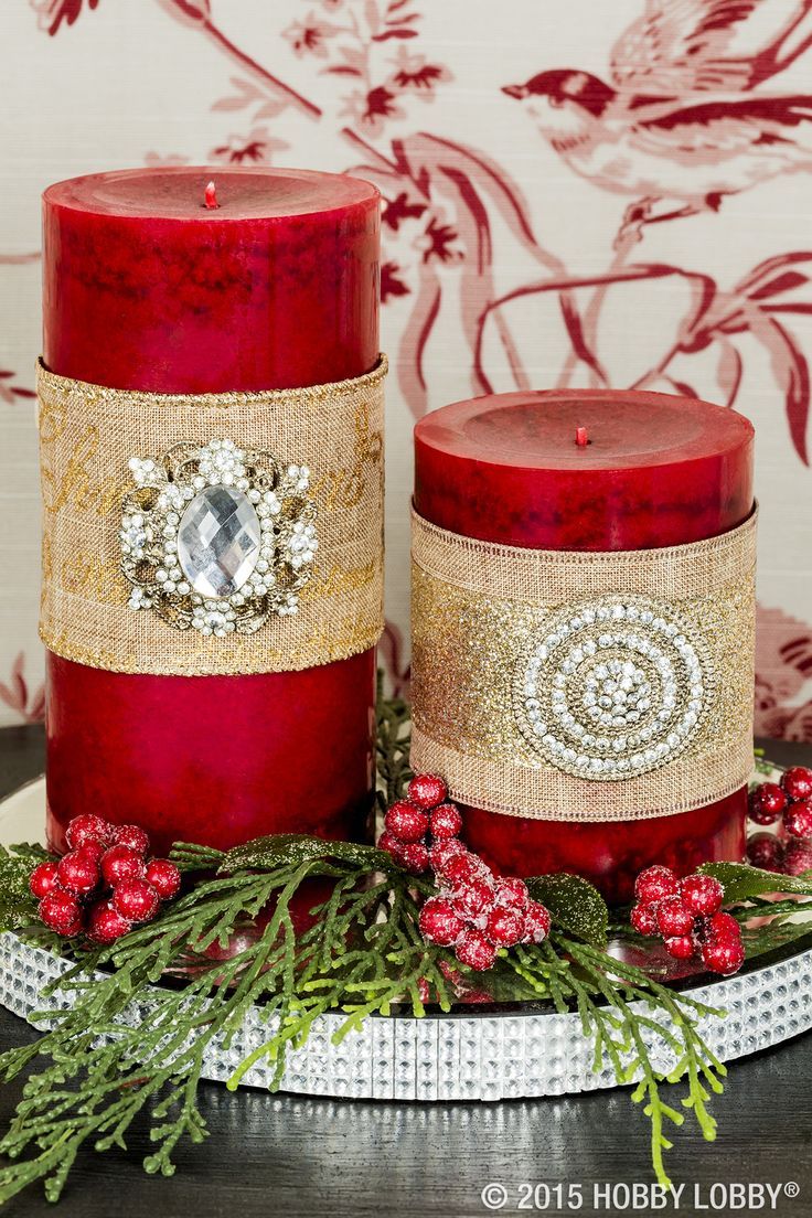 """Adorn a plain-Jane candle with beautiful, meticulous pin embellishments in just a few easy steps. Step 1: Wrap your choice of twine or ribbon around the base, making sure all embellishments are at least 1"""" from the candle's wick to prevent flame from spreading. Step 2: Push candle pins straight into wax. Voila! You've turned a homey classic into the classiest piece in the room."""