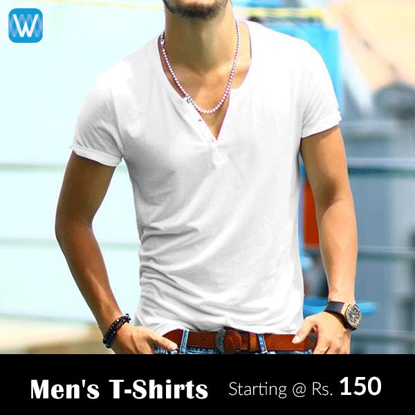 #Retailers, buy men's T-Shirts in bulk from #Wydr Wholesale E-Commerce App.  Source printed and plain round neck and collar t-shirts at margins upto 84%.
