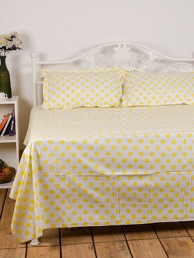 Beautiful Yellow Polka Dot double Bedsheet from Urban Buy