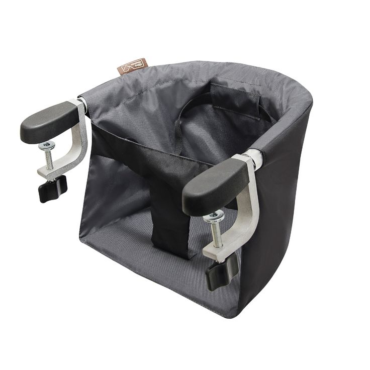 The pod is a lightweight, portable high chair from Mountain Buggy that attaches to a table. It comes in flint grey for a stylish look