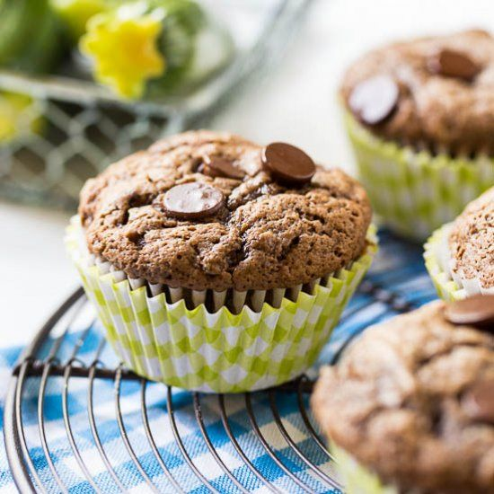 Dark Chocolate Zucchini Muffins. Turn zucchini into a chocolate lover's dream!