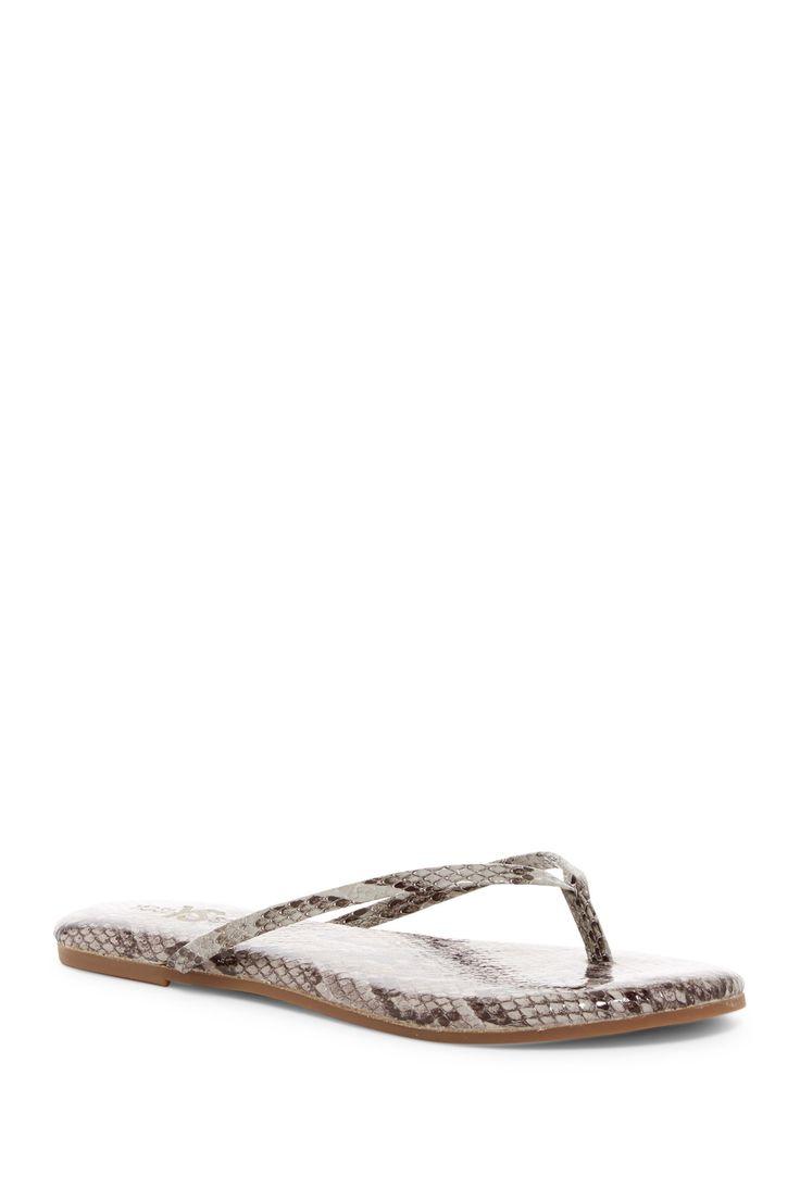 Snake Embossed Leather Flip Flop